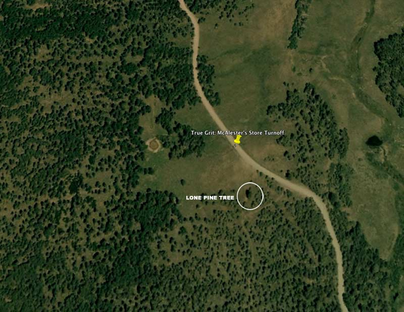 Click to enlarge this Google Eaarth map of Horsefly Mesa, location of McAlester's Store
